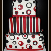 "Red And Black Mini Wedding Cake   10""/8""/6"" thanks for looking!"