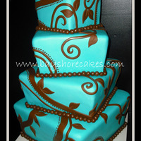 Teal And Brown Whimsical Wedding Cake   Thanks for looking!