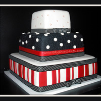 "Red, Black, White Wedding Cake   14""/10""/6"" Thanks for looking"