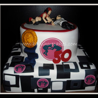Wrestling Themed Birthday Cake   Thanks for looking! Figures are mm fondant