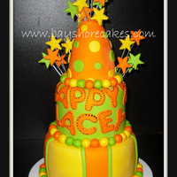 "3 Tier Yellow, Orange, Green Birthday Cake   Thank you for looking! 8""/6""/4""party hat."