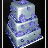 Silver And Purple Birthday Cake   Gray fondant airbrushed silver. Thanks for looking!