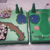 Flower Garden And Golf Course  This was for an after wedding cook out. The bride has a very large flower garden and the groom is a golfer. Frosted with BC, the flowers...