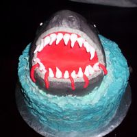 Shark   Combined many great ideas from this site and others to make a shark cake! My first with molded RKT!! How miraculous is that stuff! :)