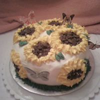 Sunflowers Buttercream frosting sunflowers with chocolate chips for the center.The butterflies are stickers on wire.