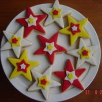 Star Cookies Vanilla cookies covered in fondant. I made these to match a High School Musical Cake I made for a girl.