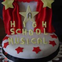 High School Musical Cake Chocolate Cake with Manjar filling covered in fondant with gumpaste accents.