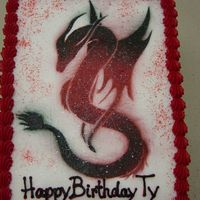 Dragon Cake I Made A Stencil For And Airbrushed  I can't believe how well the sketch AND the stencil turned out. I was pretty happy with the way it all turned out. Mainly the dragon,...