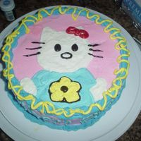 Hello Kitty Made this for a co-worker's sister. All buttercream, confetti cake. Hello kitty was freehanded.
