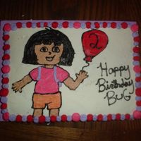 Dora Dora cake, freehanded with all buttercream.