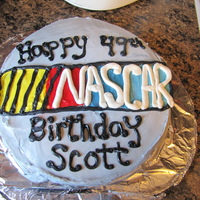 Nascar Birthday Cake  I made this for my Father in law's 49th birthday. All buttercream, and free handed (as if you cant tell LOL). This is my first cake in...