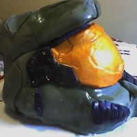 Halo 3 Helmet Cake my friend Julia and I made this cake for my boyfriend's birthday... he loves his videogames... especially Halo... we had a hard time...
