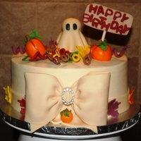 Classy Halloween Birthday Halloween cake white cake butercream icing fondant accents