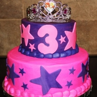 Princess Crown Stars for the princess! Two tier white cake