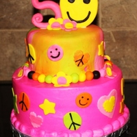 "70""s Cake For The Big 50 two tier smiley peace signs flowers all 70""s fun stuff"