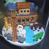 Noahs Ark   This was my entry for my school competion all made out of ginger bread with royal icing. and chocolate.