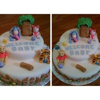 Pooh Baby Shower There was a cake on here,, not sure who to thank, That inspired this cake. THANK YOU.. It was a huge success!