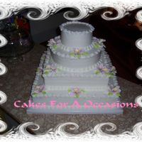 4 Tier Cake Buttercream, stacked, pink catalaya