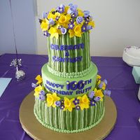"Spring Flowers Gumpaste flowers, fondant ""stems."" The cakes are 12"", 9"", and 6"" with the ball pan on top. These are my first..."