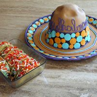 "Fiesta!  Thank you to adams2shop and the many CCers who posted taco cupcakes. The sombrero is carved from the ball pan and some 8"" rounds..."