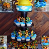 "Sun, Sea, And Sand  An 8"" cake and 50 cupcakes. Chocolate coral, pails, and shells, fondant sea creatures and flip flops, gumpaste umbrellas and suns rays..."