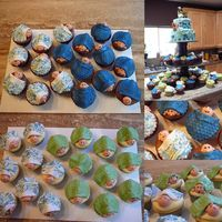 Baby Cupcakes Lemon and chocolate cupcakes. Edible image is the fabric for the nursery.