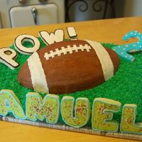 Dsc_0130.jpg This was my grandson's 2nd birthday cake. He is already a big football fan! The cookies are white velvet with royal icing.