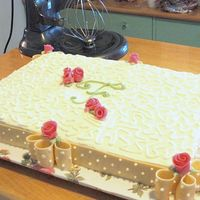 Bridal Shower Sheet Cake W/fondant Ribbon And Duff Roses This is the view of the whole cake using the white chocolate fondant ribbon and the Duff roses. There is also a close-up of the corner in...