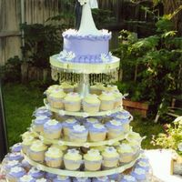 Wedding Cupcake Stand This is a wedding cupcake stand I did a while back. The tiers are glass rounds with crystal candlesticks as the columns between each layer...