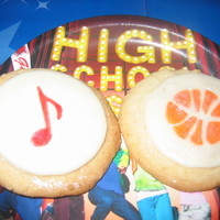 High School Musical Cookie Favors These are sugar cookies covered in MMF and stamped with music notes and basketballs in food coloring for a High School Musical themed...