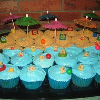 Beach Party Cupcake Cake Idea came from Bakerella's website. It was a pain to do the bear's, but it came out cute.