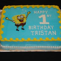 Spongebob Squarecake This cake was done for a family friend's son. This is a triple layer, yellow cake, custard filled, buttercream icing and decorations....