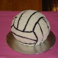 3D Volleyball Cake This cake, and two others, were done for an end-of-year Volleyball league award ceremony.
