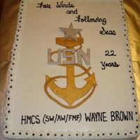 Hmcs Brown's Retirement From Naval Service Two 12x18's - side by side, french vanilla cake, buttercream dream -filled and frosted. The anchor is fondant, painted with old gold...