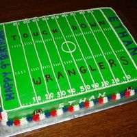 Ethan's 9Th Birthday Football Cake I've been wanting to make a football field cake so I was happy to do this for a friend. This is a white chocolate sour cream cake with...