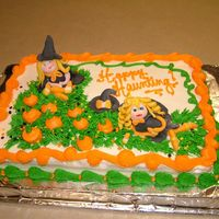 Punkin Patch Witches Witches are made of Fondant. The rest of the cake is done in Buttercream.