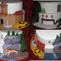 Twilight Saga New Moon Three sided cake. One for the Wolf Pack, one for the Cullen's and one of Volterra. All decorations are Fondant, Gumpaste or Royal...
