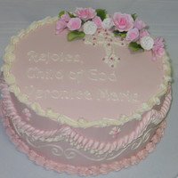 Pink Baptism Cake. Frosted in IBC with gumpaste roses.