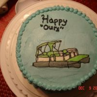 Pontoon Boat Birthday Cake Vanilla cake with chocolate pudding filling. All butter cream with fbct pontoon boat.