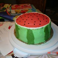 Watermelon Cake All buttercream watermelon cake. Seeds are mini chocolate chips.