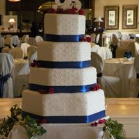 4 Layer Octagon Fondant Cake -Blue this is a 4 layer fondant cake with blue ribbion. the bottom layer if fake. this is my first wedding cake and I think it turned our great&...