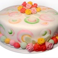"Whimsical Circles This is a 9"" round French Vanilla cake with french vanilla buttercream filling and MMF. Thank you to MayWest for the design idea, I..."