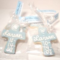 Baptism Cookies Sugar cookies with MMF and RI writing.