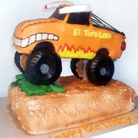 "El Toro Truck The truck was carved from a 1/4"" CASC sheet cake and is sitting on a 2 layer 1/4"" CASC sheet cake. The bottom layer was..."