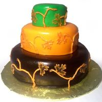 "Fall Anniversary Mini-Cake This is a first year anniversary cake that is a mock-up of their original wedding cake (see my Fall Wedding cake). This is a 4"", 3&..."