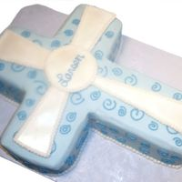 "Baptism Cross This is a marble cake with french vanilla mousse filling carved from a 1/4"" sheet cake. All buttercream, with white MMF cross."