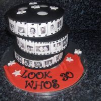 Film Roll This was my birthday cake I made for my joint 30th birthday party we had a TV & Film themed costume party. the images are edible images...