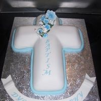 Boys Baptism Cake cross shape with blue roses
