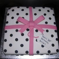 Present Cake Black & White present with pink bow