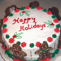 Happy Holidays Its a German chocolate cake with coconut pecan filling(2 layers) with buttercream icing. The outside decoration is individual baked...